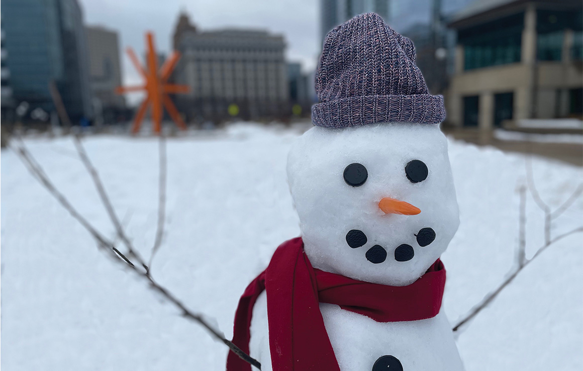 Snowman in O'Donnell Park