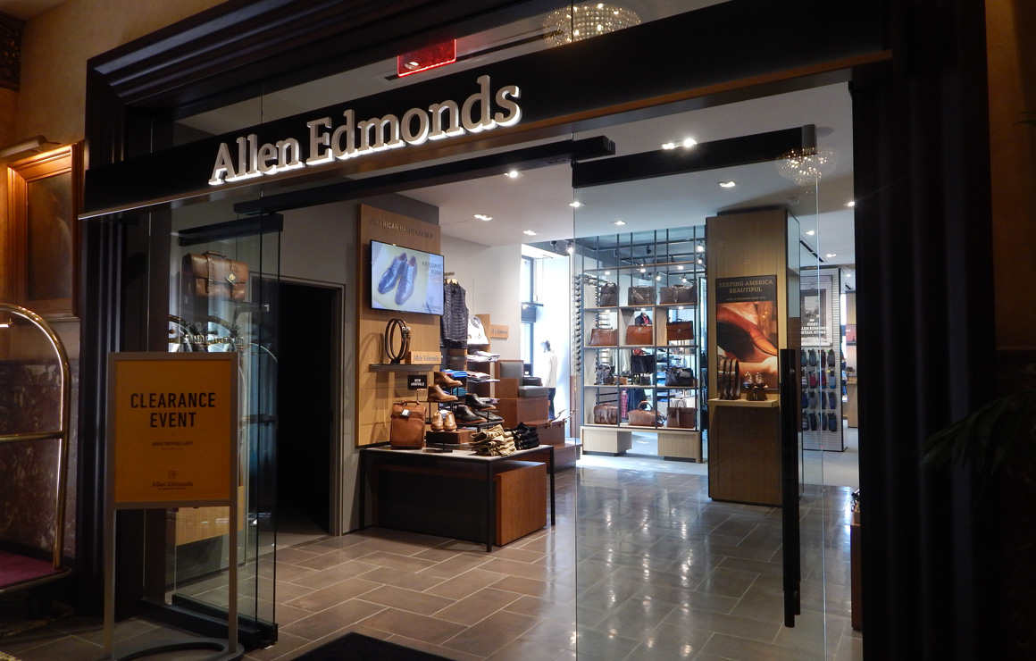 The storefront of Allen Edmonds is right off Wisconsin Avenue
