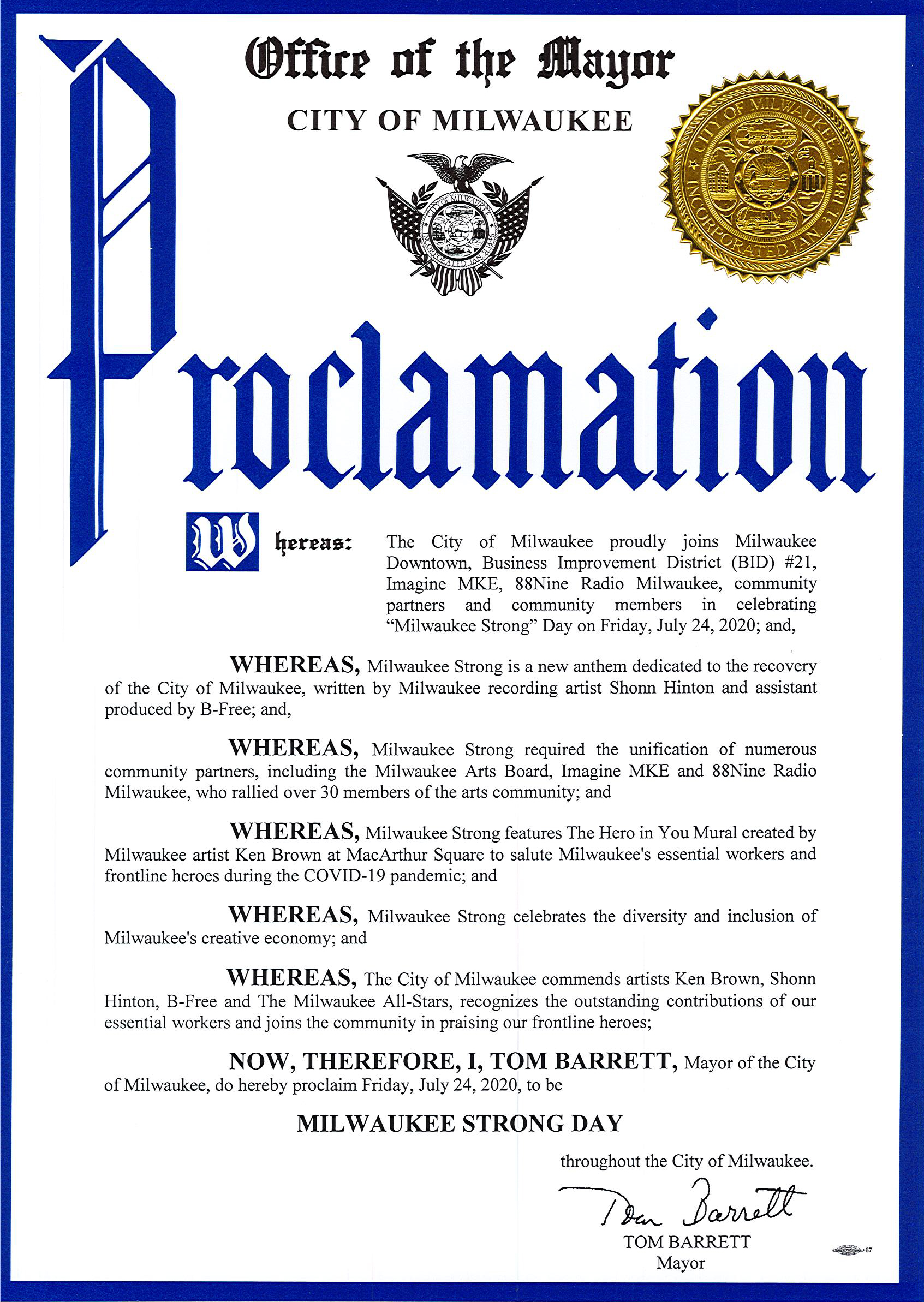 Milwaukee Strong Proclamation