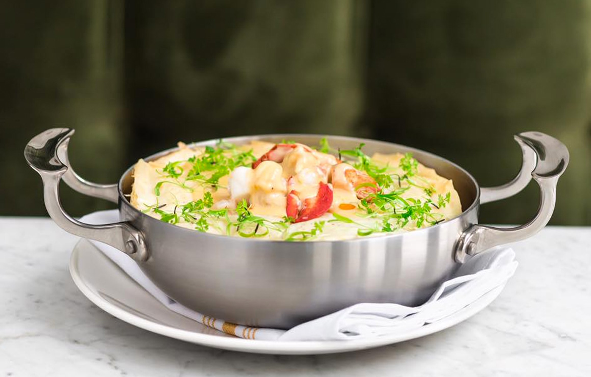 Lobster Pot Pie is a delicious entree on their seafood focused menu.
