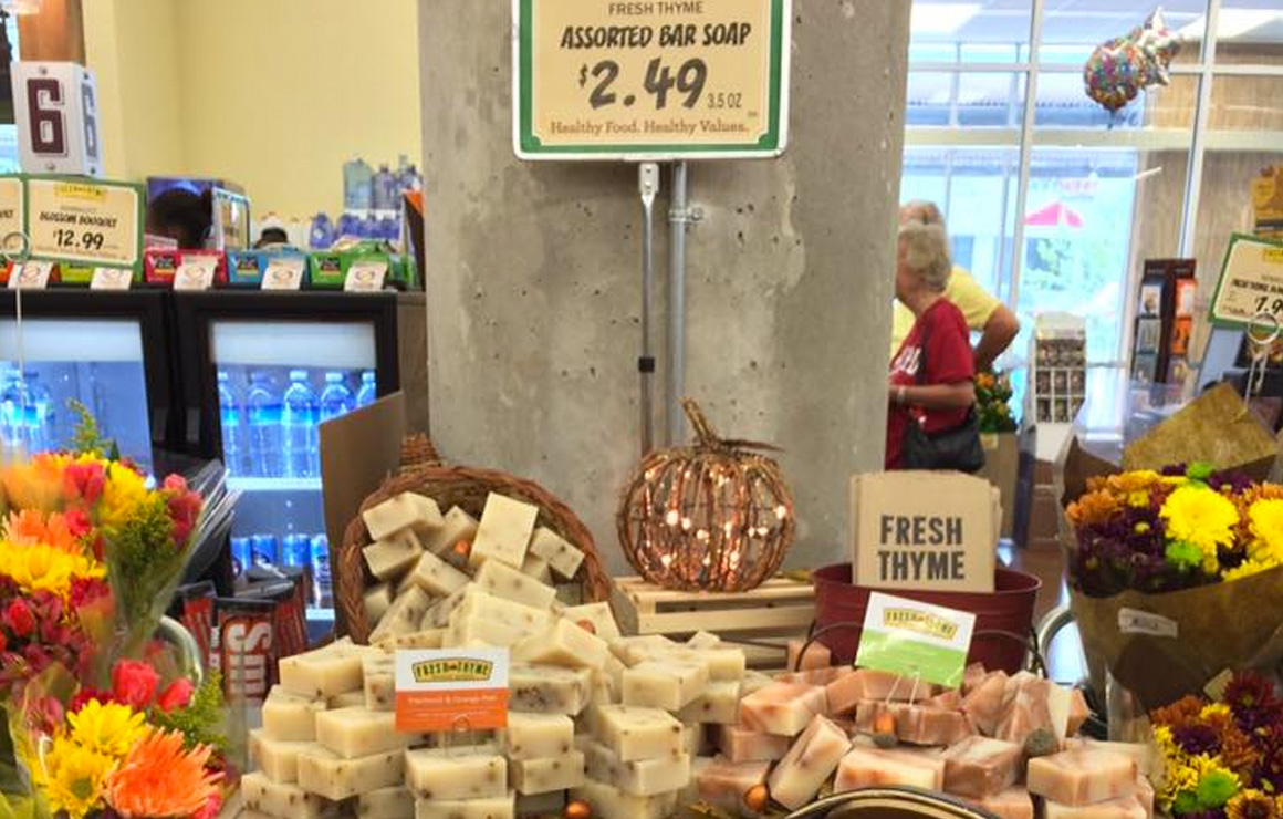 Fresh Thyme offers assorted soaps locally made.