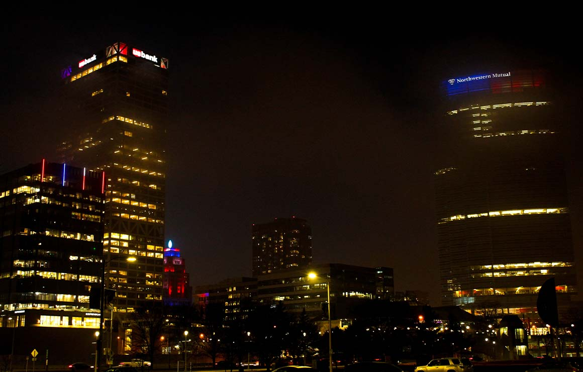 Skyline Coronavirus Lights of Hope Milwaukee Downtown